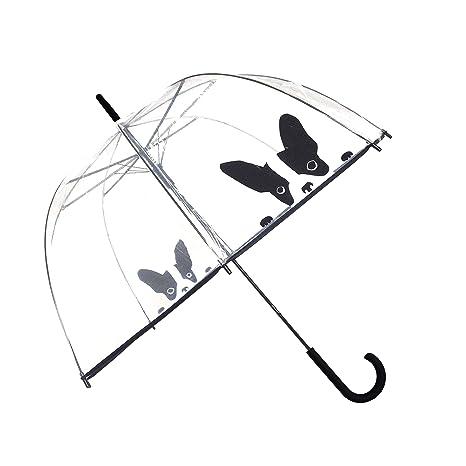 Paraguas largo transparente forma de campana automático-estampado Perro