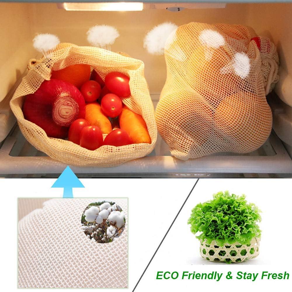 AOKKR Bolsas de Malla Reutilizables, 8 unidades, bolsas reutilizables compra, Algodón 100% Ecológico para Verduras y Frutas 4 Tamaños diferentes (Se pueden lavar a máquina): Amazon.es: Hogar