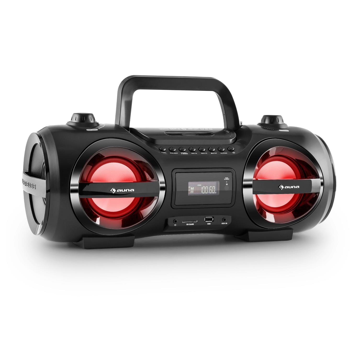 auna Soundblaster M Ghettoblaster Boombox (Bluetooth 3.0, CD-Player, MP3, USB-Port, LED-Effektbeleuchtung) schwarz