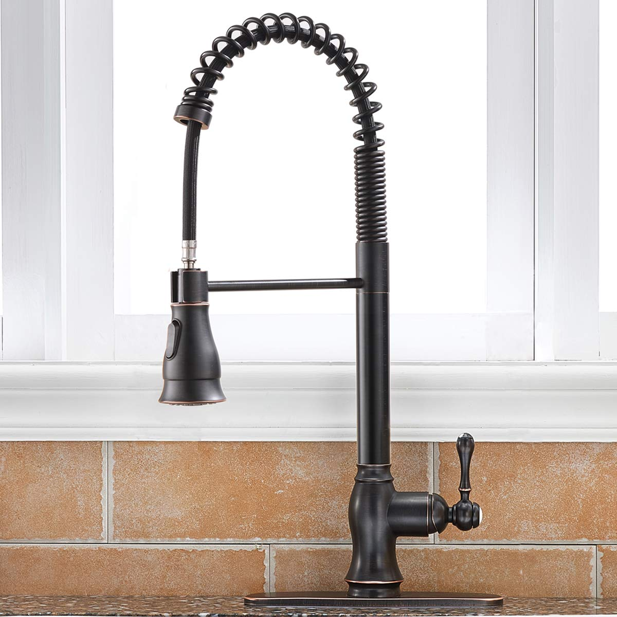 Antique Spring Single Handle Pull Down Sprayer Oil Rubbed Bronze Kitchen Faucet, Kitchen Faucet Bronze With Deck Plate