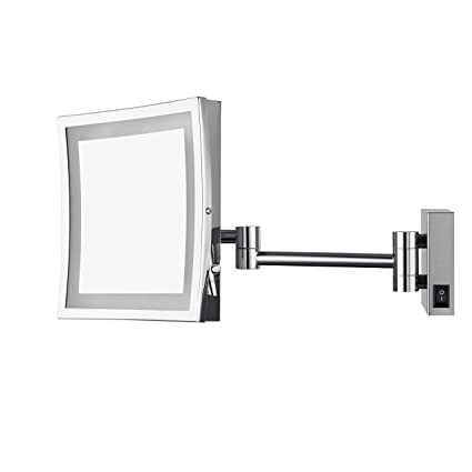 300c96a8683 AECHOO Wall Mounted Mirrors Makeup Shaving Mirror LED Lighted Luxury  Bathroom Mirror for Hotel Vanity with Adjustable Extendable Square 8.5inch  5x ...