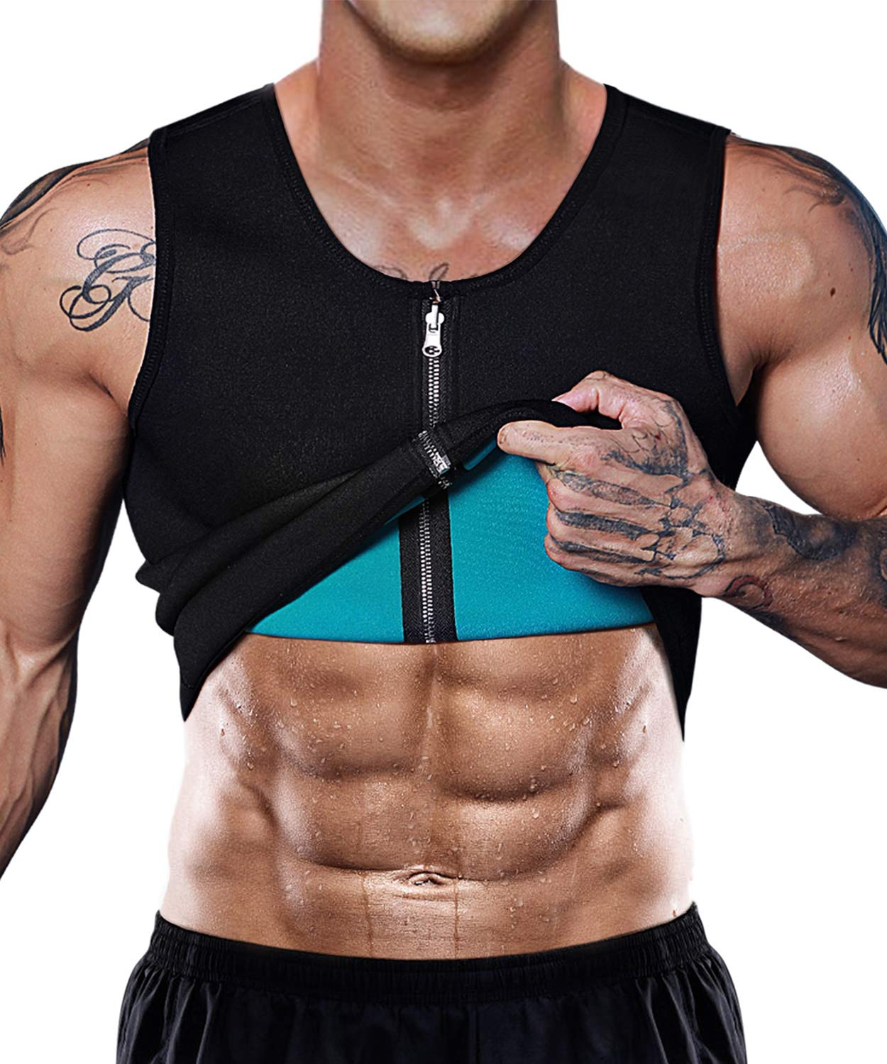 NonEcho Men Sauna Sweat Vest Weight Loss Waist Trainer Vest Neoprene Tank Top Shapewear Slimming Shirt Workout Suit