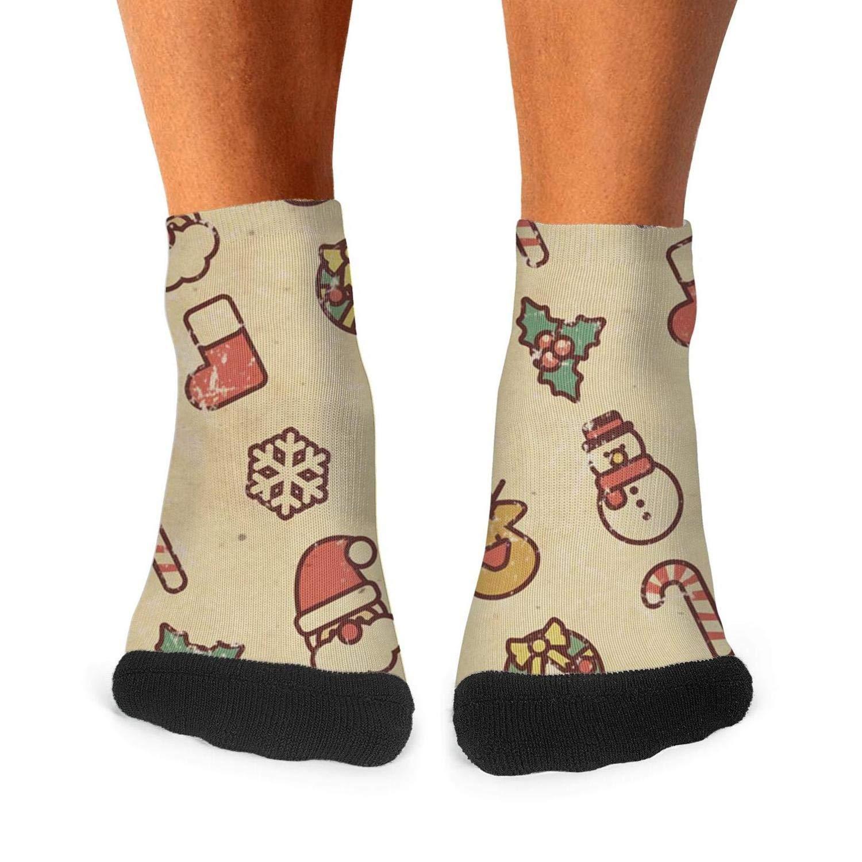 Mens athletic low cut Ankle sock Vintage Christmas Elements Wallpaper Short Fit Sock