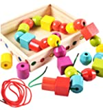 Lewo Wooden Jumbo Lacing Beads Shapes Sorter Montessori Educational Toys 30 Pcs with 2 Laces