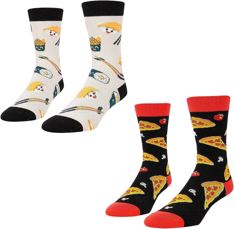 HAPPYPOP Unisex Food Drink Socks, Novelty Beer Taco Sushi Pizza Socks for Women Men