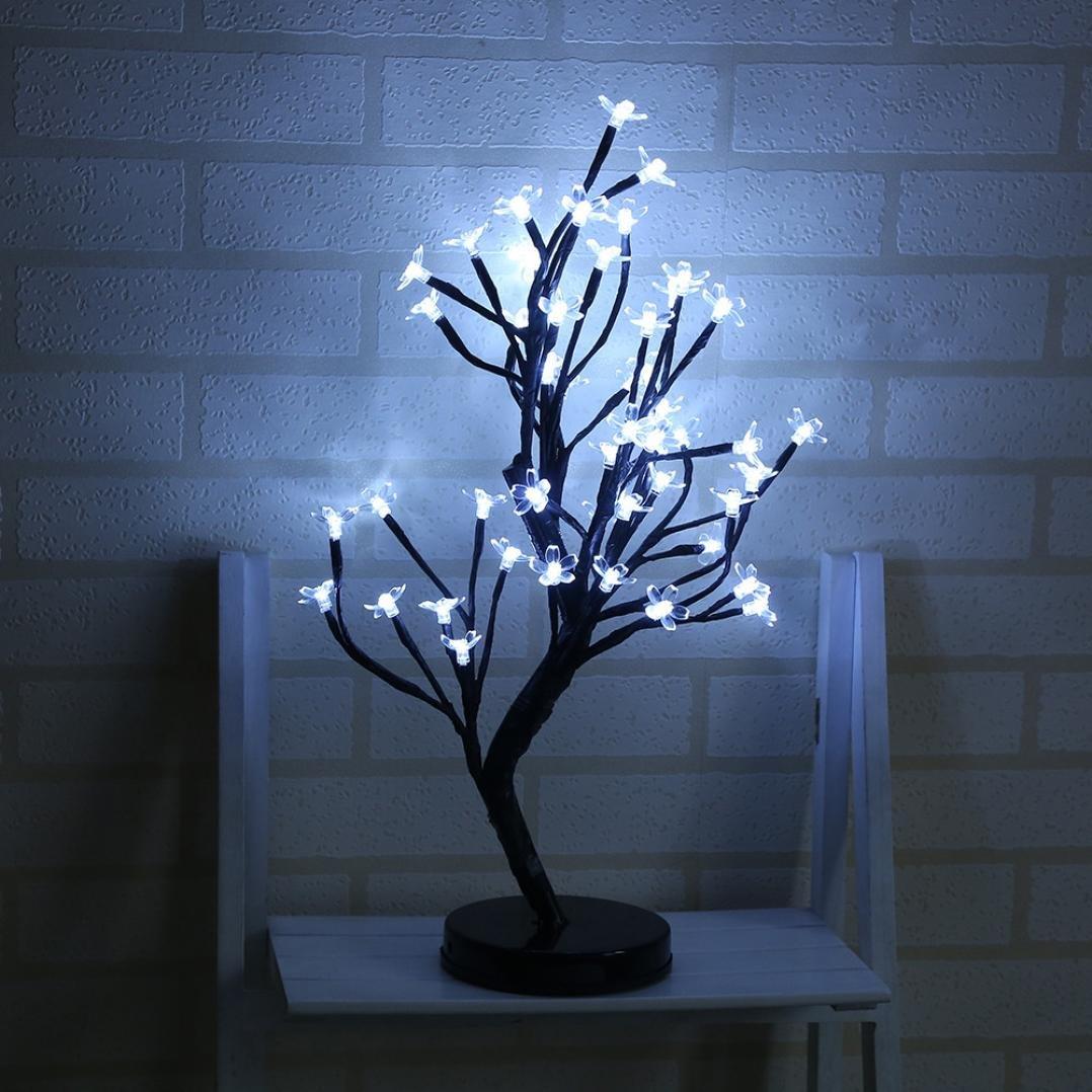 21 inch Tall Cherry Blossom Desk Bonsai Tree 48 LED Battery Operated Flower LED Desk Light (White)