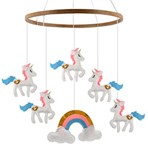 Baby Crib Mobile for Boy or Girl - Unicorn Mobiles for Nursery Decor Stroller Or Above Changing Table - Perfect Baby Shower Gifts Or Newborn Toys