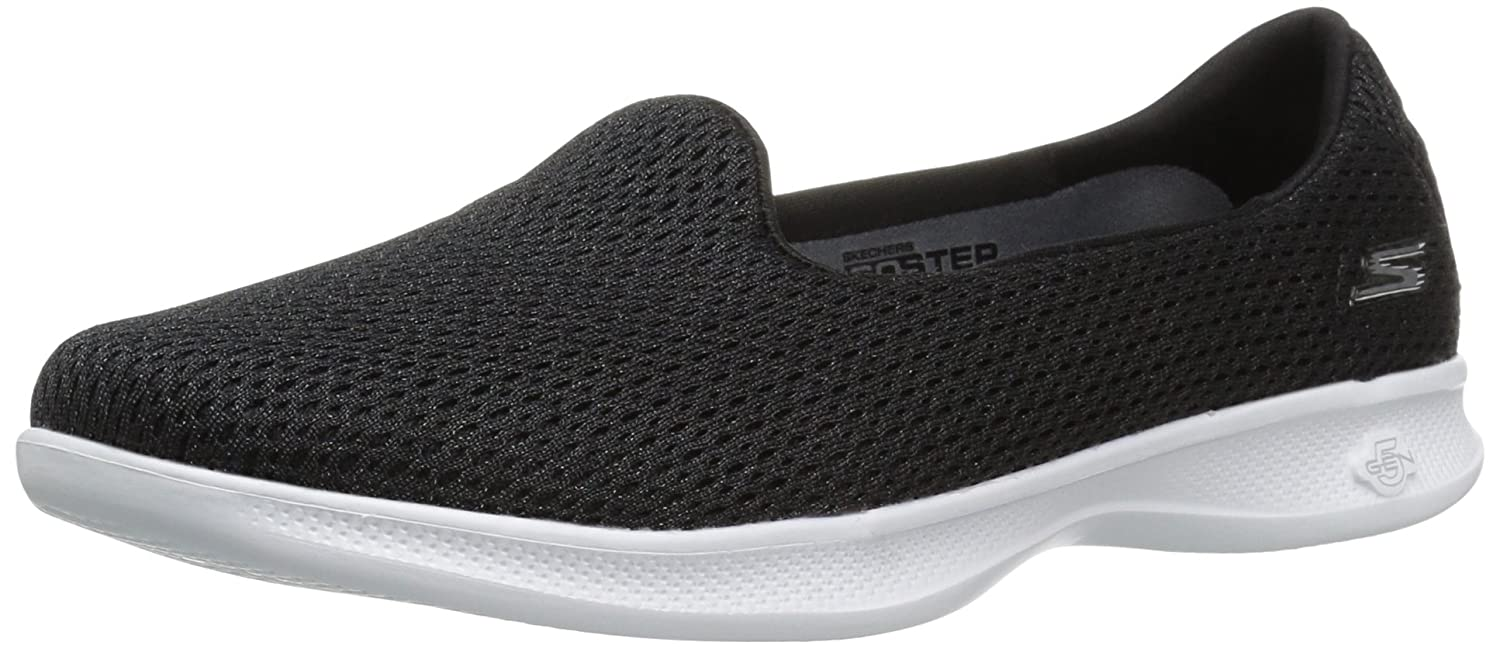 Skechers Performance Women's Go Step Lite Slip-on Walking Shoe B01IIBQULK 7.5 B(M) US|Black/White Lux