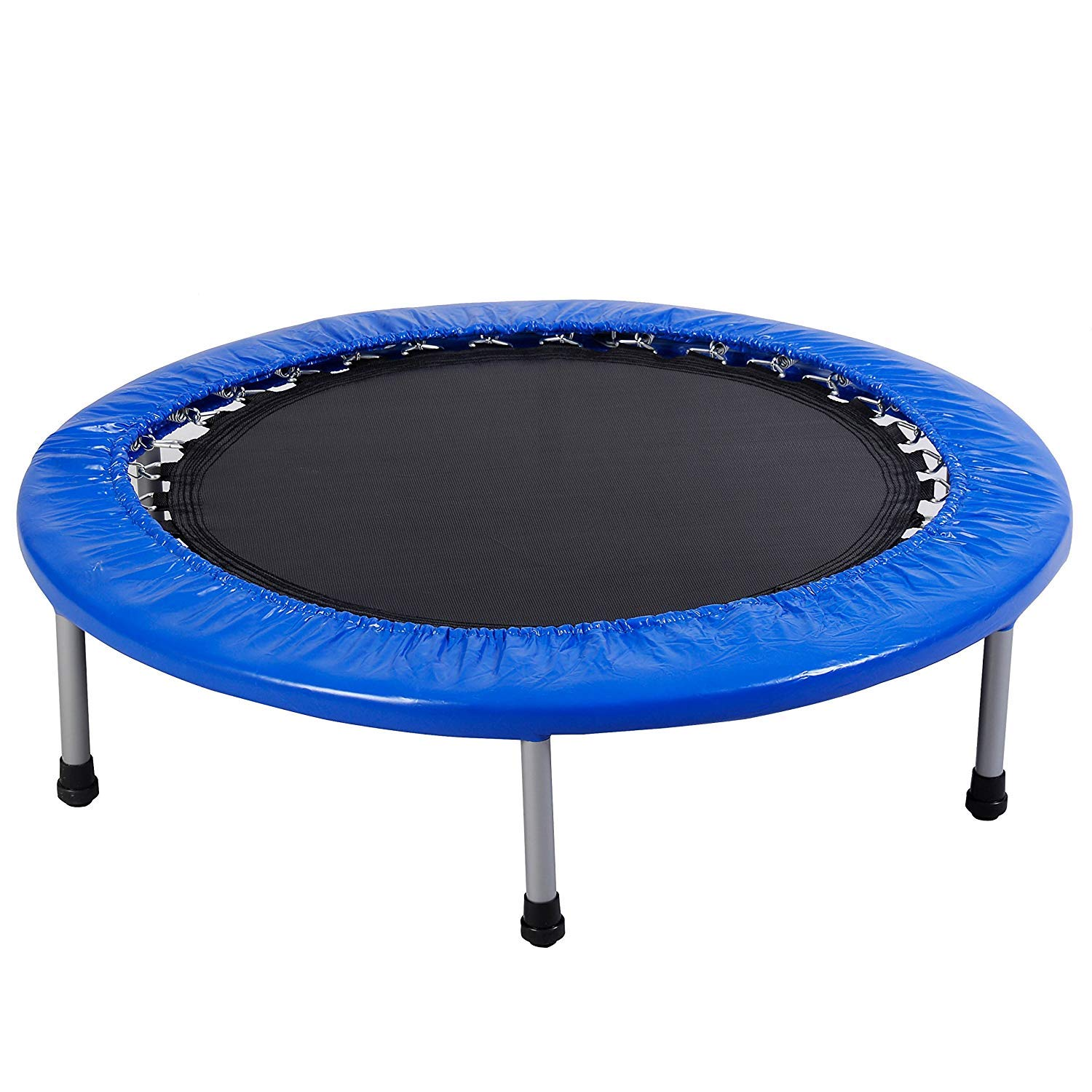 COSTWAY 38'' Mini Band Trampoline Safe Elastic Exercise Workout W/ Padding & Springs, Silver Steel/Blue/Black