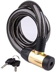 FOBOZONE Cadenas de Vélo, Câble Antivol pour Vélo/Scooter/Motos/Portail Vélo,Câble de Verrouillage.(Taille: 120cm Longueur x 23mm Dia/Poids: 1 kg)