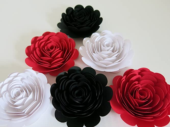 Amazon black red white paper roses 3 paper flower blooms black red white paper roses 3quot paper flower blooms set of mightylinksfo