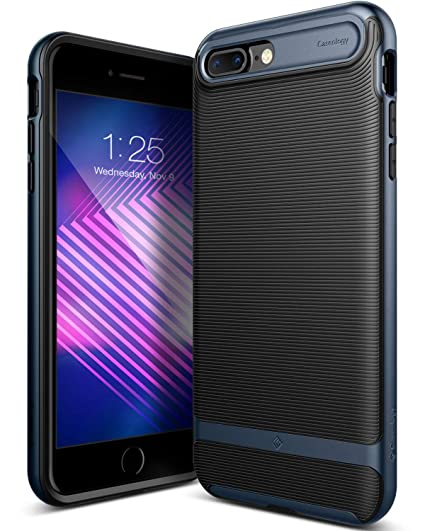 newest 3d016 96944 Caseology Wavelength for iPhone 8 Plus Case (2017) / iPhone 7 Plus Case  (2016) - Stylish Grip Design - Black/Deep Blue