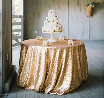 Affordable 90 Inch Matt Gold Sparkly Sequin Tablecloth