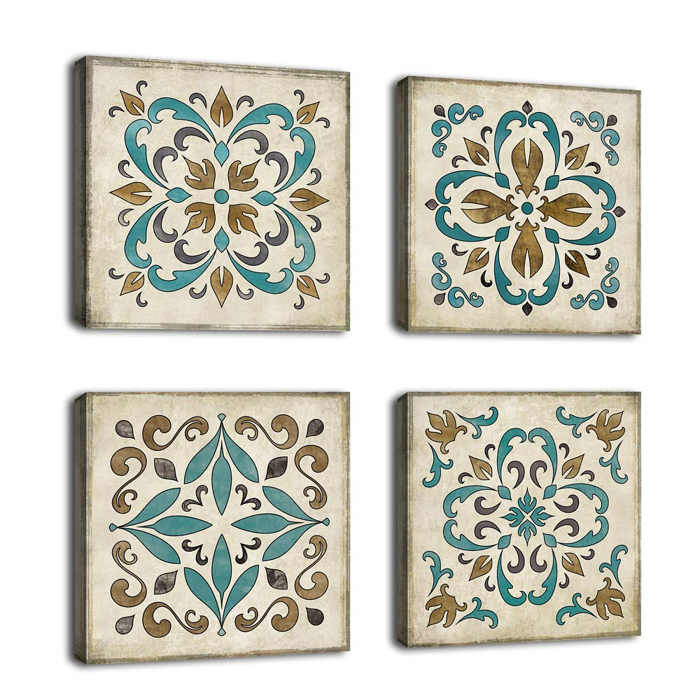 "Vintage Canvas Wall Art Retro Flower Pattern Decor Bedroom Bathroom Wall Decor Modern Decorative Design Rustic Style for Home Office Living Room Decoration 12"" x 12"" x 4 Pieces"