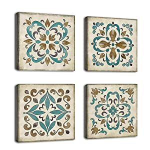 """Vintage Canvas Wall Art Retro Flower Pattern Decor Bedroom Bathroom Wall Decor Modern Decorative Design Rustic Style for Home Office Living Room Decoration 12"""" x 12"""" x 4 Pieces"""