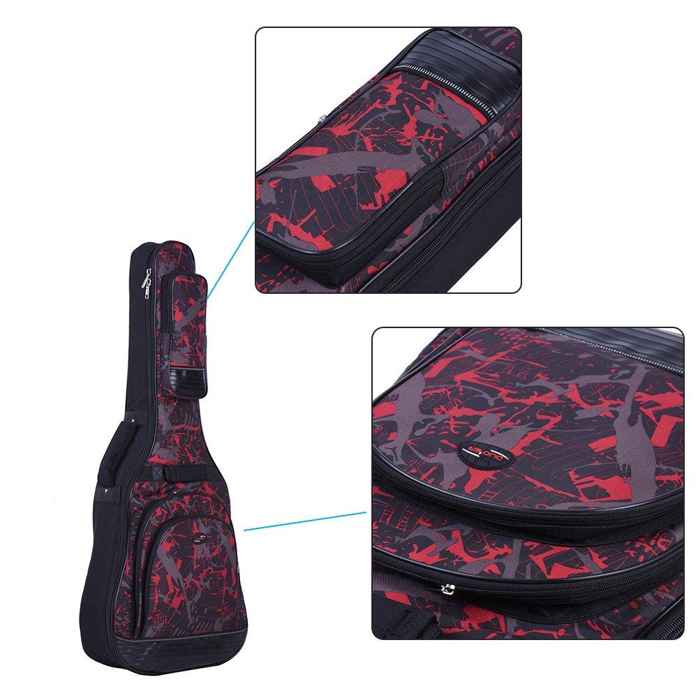 ammoon 42 Folk Acoustique Classique Guitare Case Sac /à dos Bandouli/ère ajustable 600D Tissu Multiple Pocket Camouflage