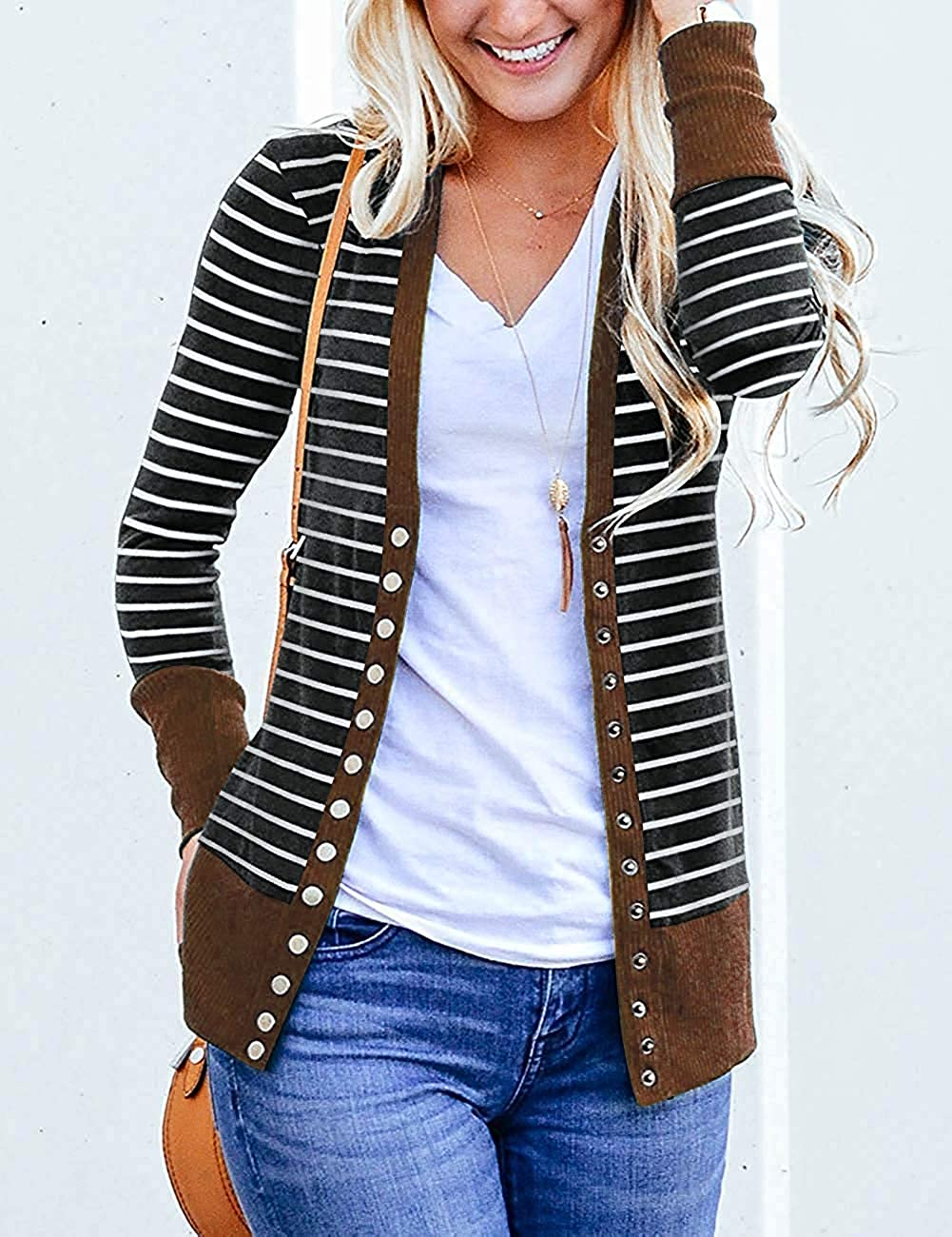 Aswinfon Womens Knit Cardigan Knitwear Sweater Ladies Coat Outwear