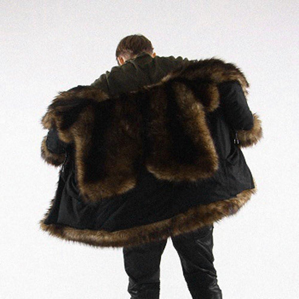 RedBrowm Mens Warm Plus Thicker Long Coat Hoodie Jacket Faux Fur Parka Outwear Cardigan