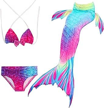 HHD® 3Pcs Establece bañadores niña Traje de baño Bañador De Sirena Disfraz De Princesa Bikini niña Cola de Sirena para Nadar Las niñas Bikini de Traje de baño …