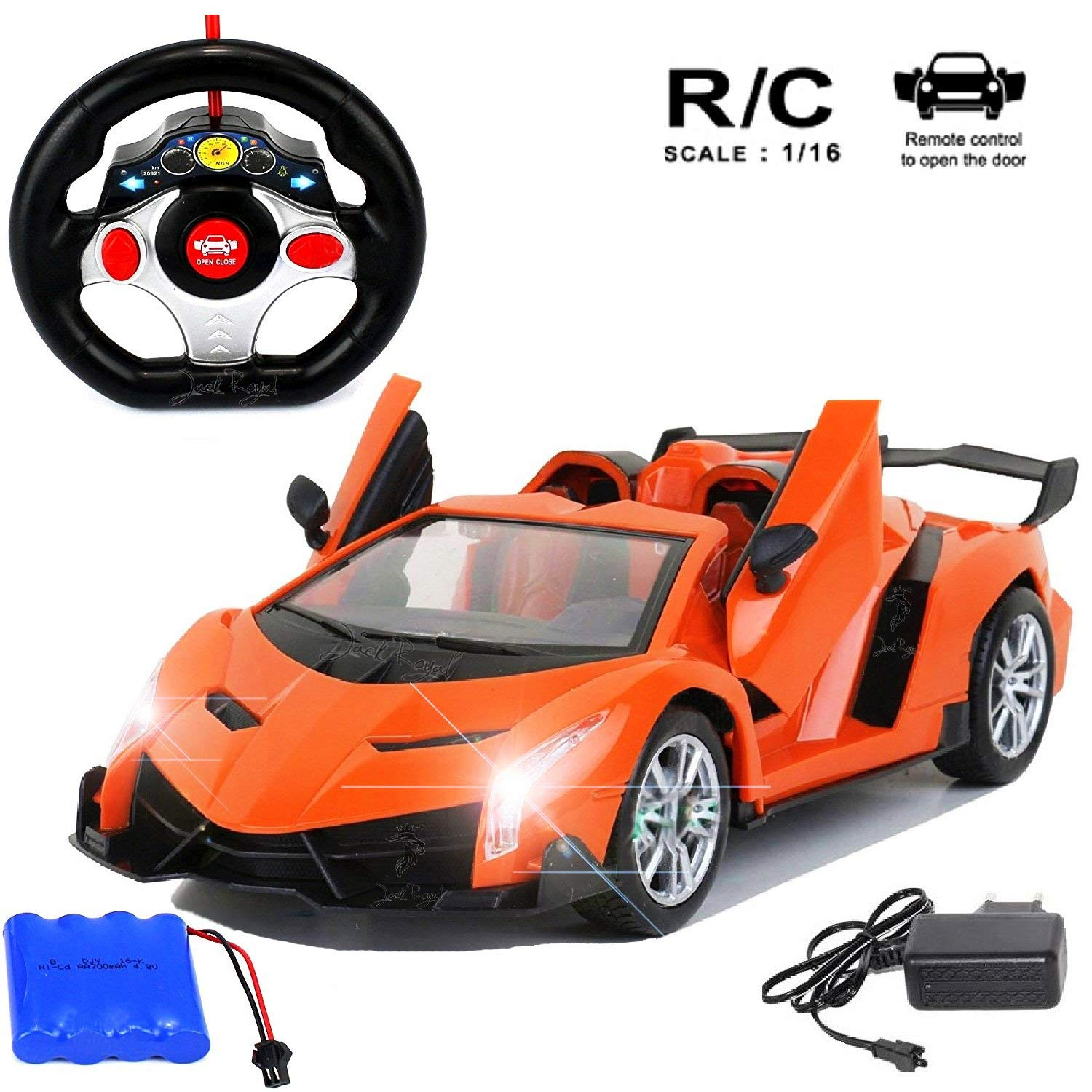 Jack Royal 1:16 Scale Remote Control Winner 3 Racing Opening & Closing Doors -Color May Vary