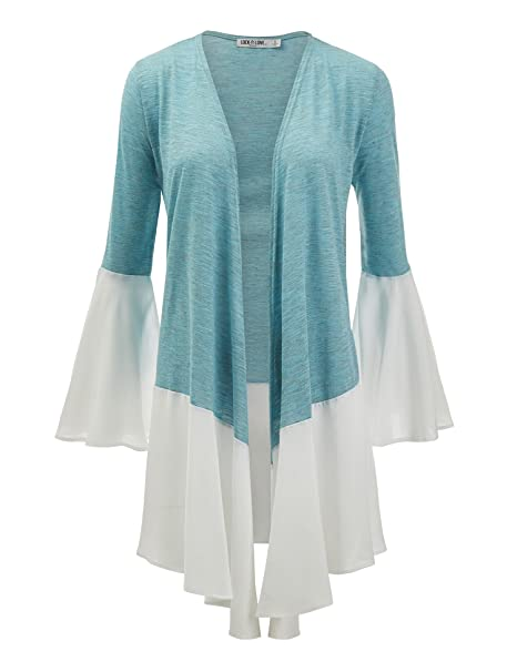 fe8d53405d Womens Long Sleeve Contrast Ruffle Open Front Cardigan - Made in USA ...
