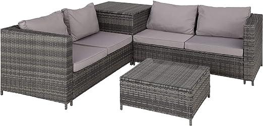 TecTake 800678 Conjunto de Muebles de Jardín de Ratán, 2 Sofás 1 Mesa 1 Caja de Almacenamiento, Incluye Tornillos de Acero Inoxidable (Gris | No. 403072): Amazon.es: Jardín