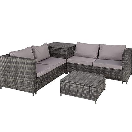 TecTake 800678 Polyrattan Sitzgruppe für 4 Personen, frei zu gruppierende  Elemente, inkl. Aufbewahrungsbox für Polster, Tisch mit Glasplatte –  Diverse ...