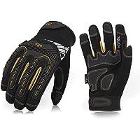 Vgo 3 Pairs High Dexterity Heavy Duty Mechanic Glove,Anti-Vibration,Anti-Abrasion,Touchscreen,Rigger Glove(Size L,Black,SL8849)
