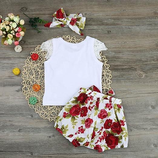 eb1084a7453 Amazon.com  FEITONG Princess Baby Girl Lace Sleeve Kid Tops T-shirt+Floral  Shorts Pants Outfits Set Clothes  Baby