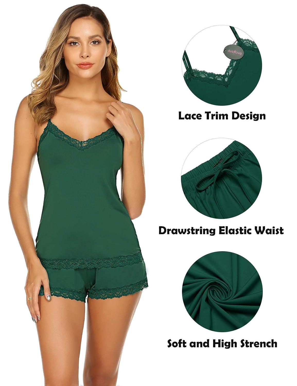 Avidlove Women Sleeveless Pajama Set Modal Short PJ Set Lace Trim Sleepwear