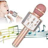 Wireless Bluetooth Karaoke Microphone for Kids, 5-in-1 Portable Handheld Karaoke Mic Speaker Player Recorder with Adjustable