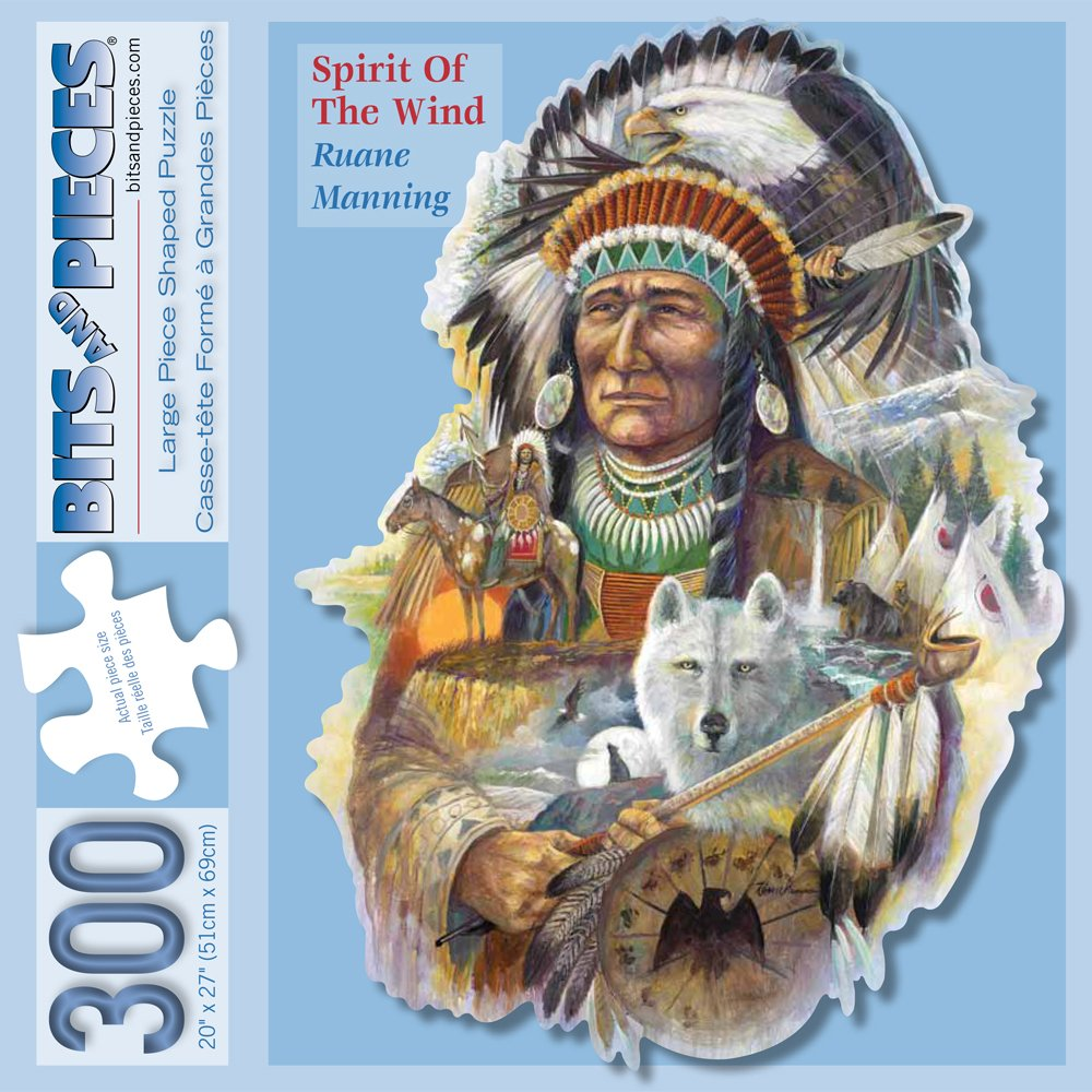 Bits and Pieces - 300 Piece Shaped Jigsaw Puzzle for Adults - Spirit of the Wind - 300 pc Native American Jigsaw by Artist Ruane Manning