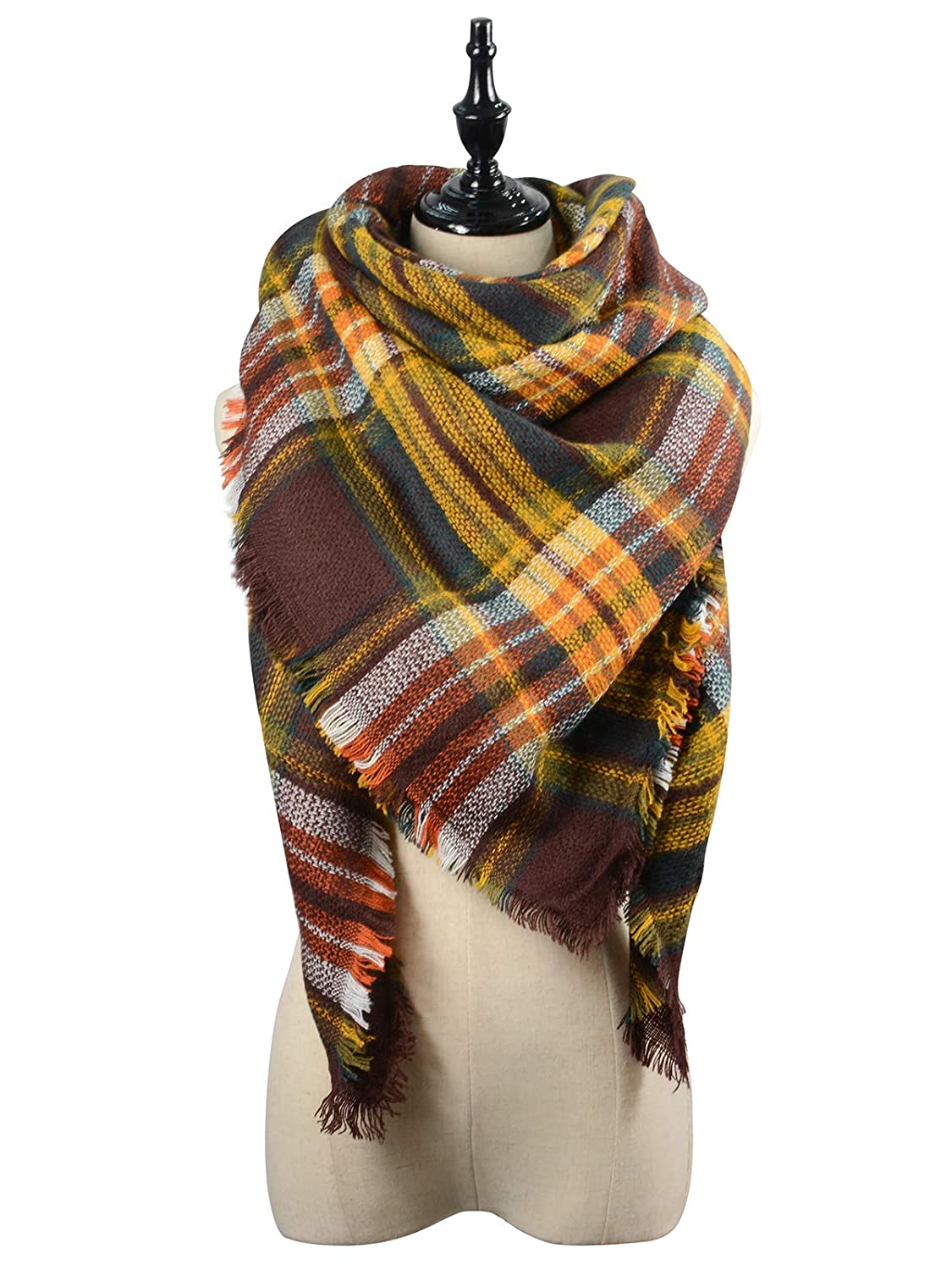Trendy Women's Cozy Warm Winter Fall Blanket Scarf Stylish Soft Chunky Checked Giant Scarves Shawl Cape Coffee Warm )