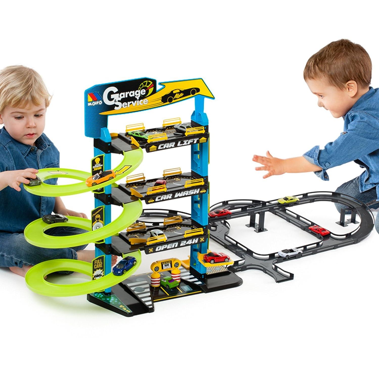 #0618 Stabile Parkgarage mit 3 Ebenen inklusive Aufzug und 5 Metallautos • Parkhaus Spielstrasse Spielautos Spielzeug Autorennbahn Auto H-Collection