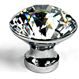 10PCS Diamond Shape Crystal Glass Cabinet Knob Cupboard Drawer Pull Handle/Great for Cupboard, Kitchen and Bathroom Cabinets, Shutters, etc (30MM)