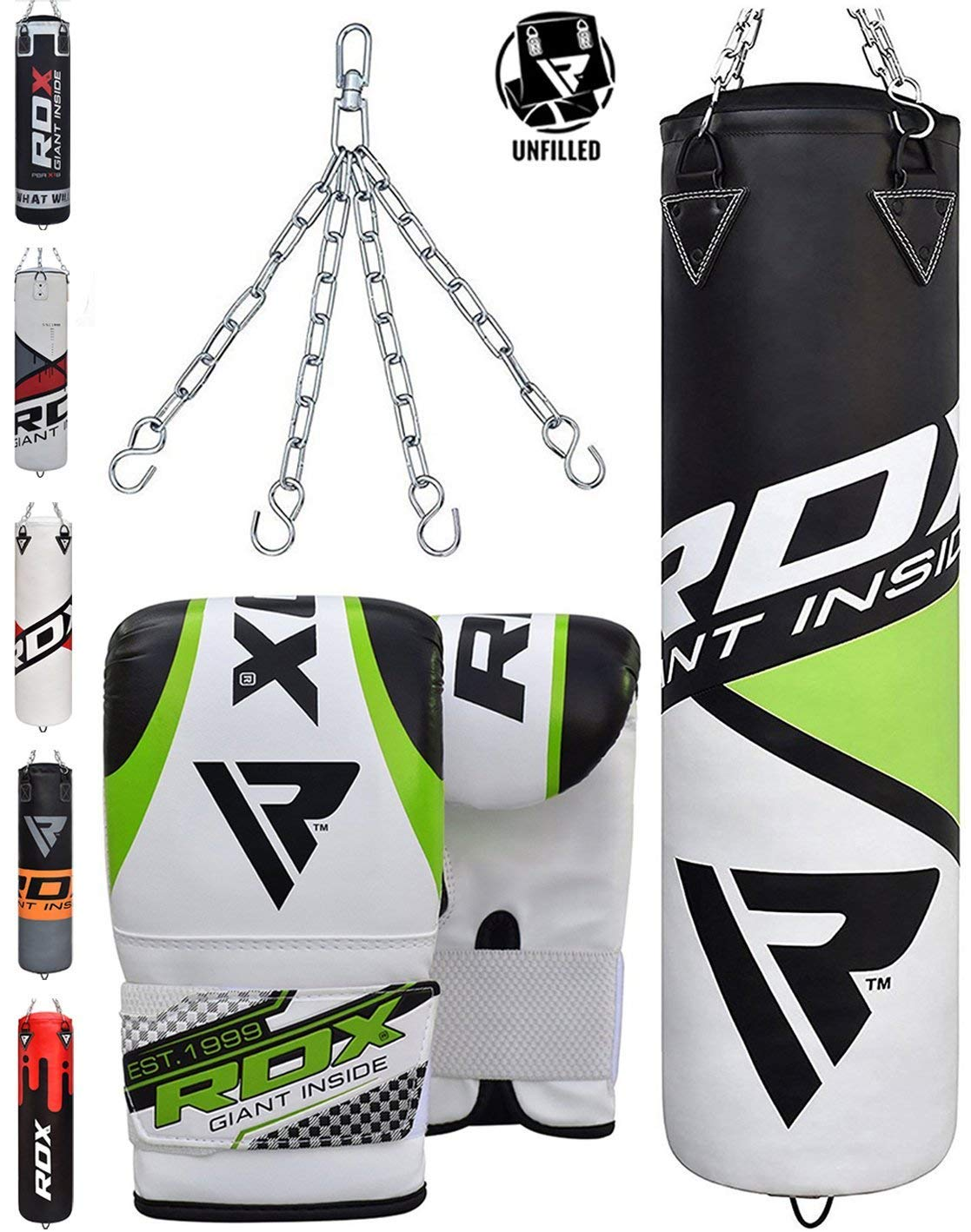 RDX Punching Bag UNFILLED Set Muay Thai MMA Training Gloves with Punch Mitts Hanging Chain Great for Kick Boxing Martial Arts Available in 4FT 5FT