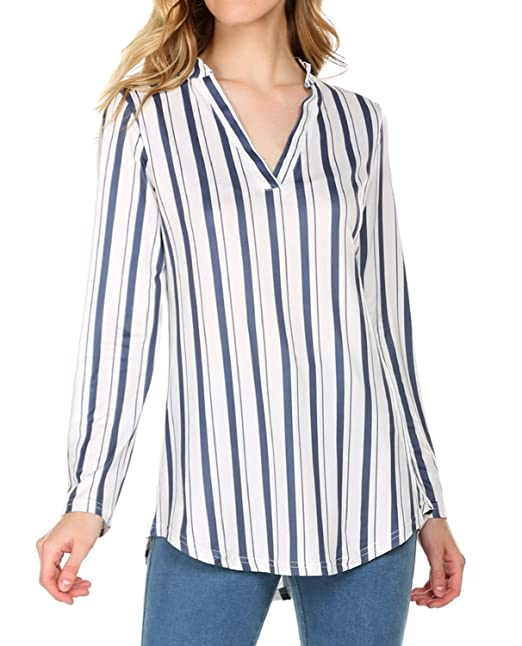 55f82a93d843 POGTMM Women s Casual Plaid V-Neck Loose Shirts Long Sleeve Tunic ...