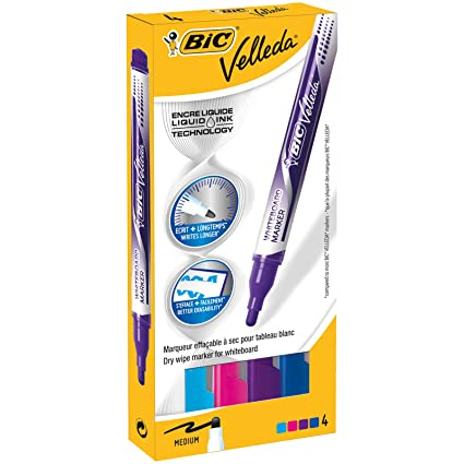 Amazon.com : Bic Velleda Fashion Colour Drywipe Markers ...