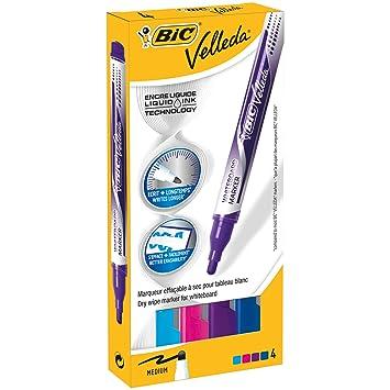 BIC Velleda - Caja de 4 marcadores para pizarra blanca, colores rojo, morado, azul claro y azul: Amazon.es: Oficina y papelería