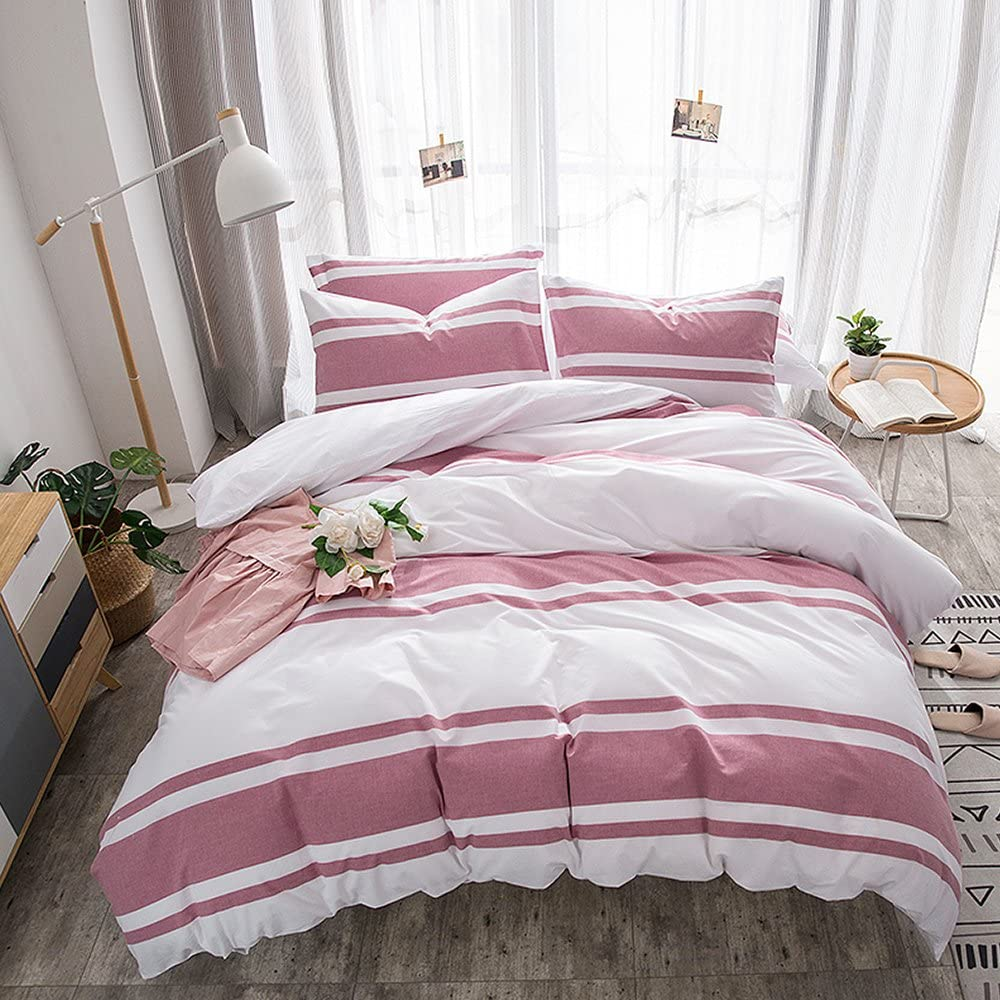 Merryfeel Cotton Duvet Cover Set,100% Cotton Yarn Dyed Stripe Bedding Set,3 Pieces (1 Duvet Cover with 2 Pillowshams) - Full/Queen Red Stripe