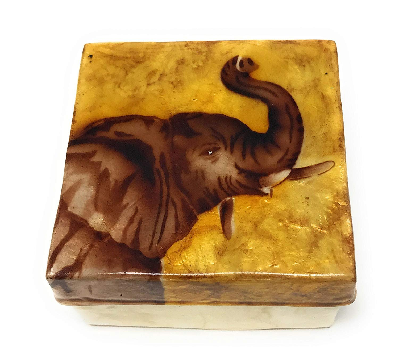 3 Inches Square Kubla Craft Good Luck Elephant Capiz Shell Keepsake Box