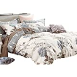 Swanson Beddings Daisy Silhouette Reversible Floral Print 3-Piece 100% Cotton Bedding Set: Duvet Cover and Two Pillow Shams (
