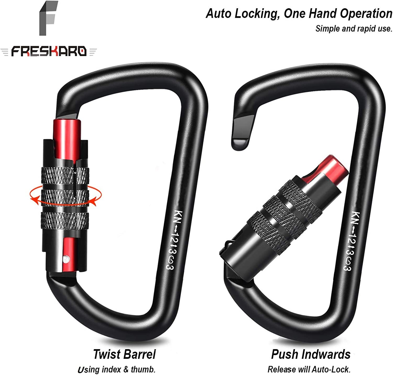 FresKaro 3inch Twist Locking Carabiner Clips, 12KN-2698lbs, 7075 Aluminum: Clothing