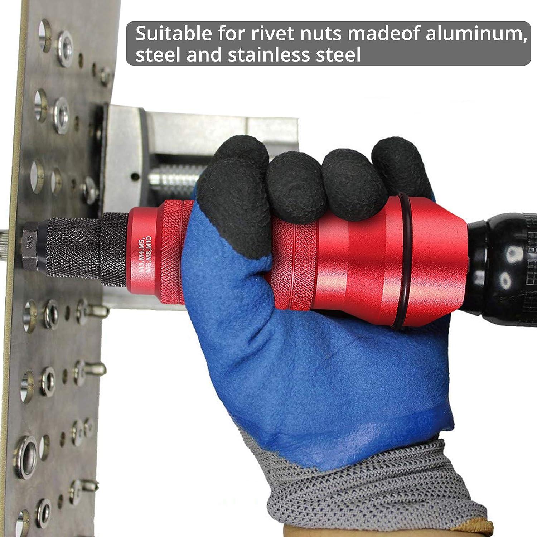 Tuerca Aluminio Acero Acero Inoxidable Accesorio para Taladro Remachadora de Tuercas Herramienta de Remachado Adaptador para Taladros El/éctricos Atornillador para M3//M4//M5//M6//M8//M10 240RPM Max