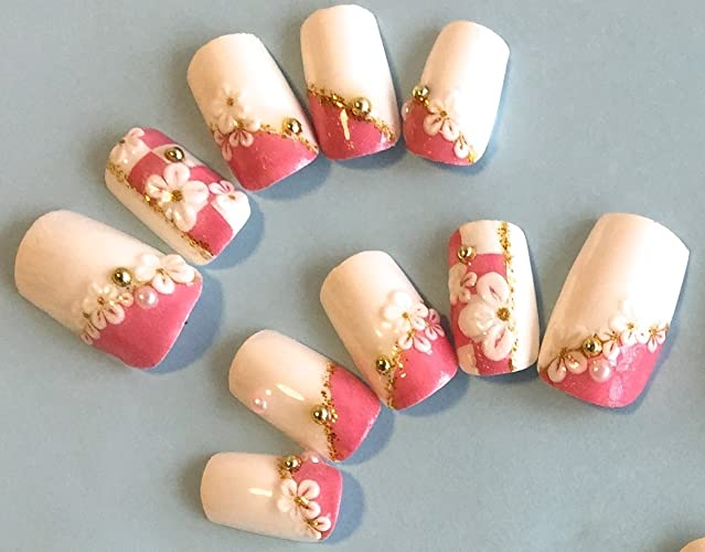 Amazon.com: Fake Nails design modern japanese for Wedding, party ...
