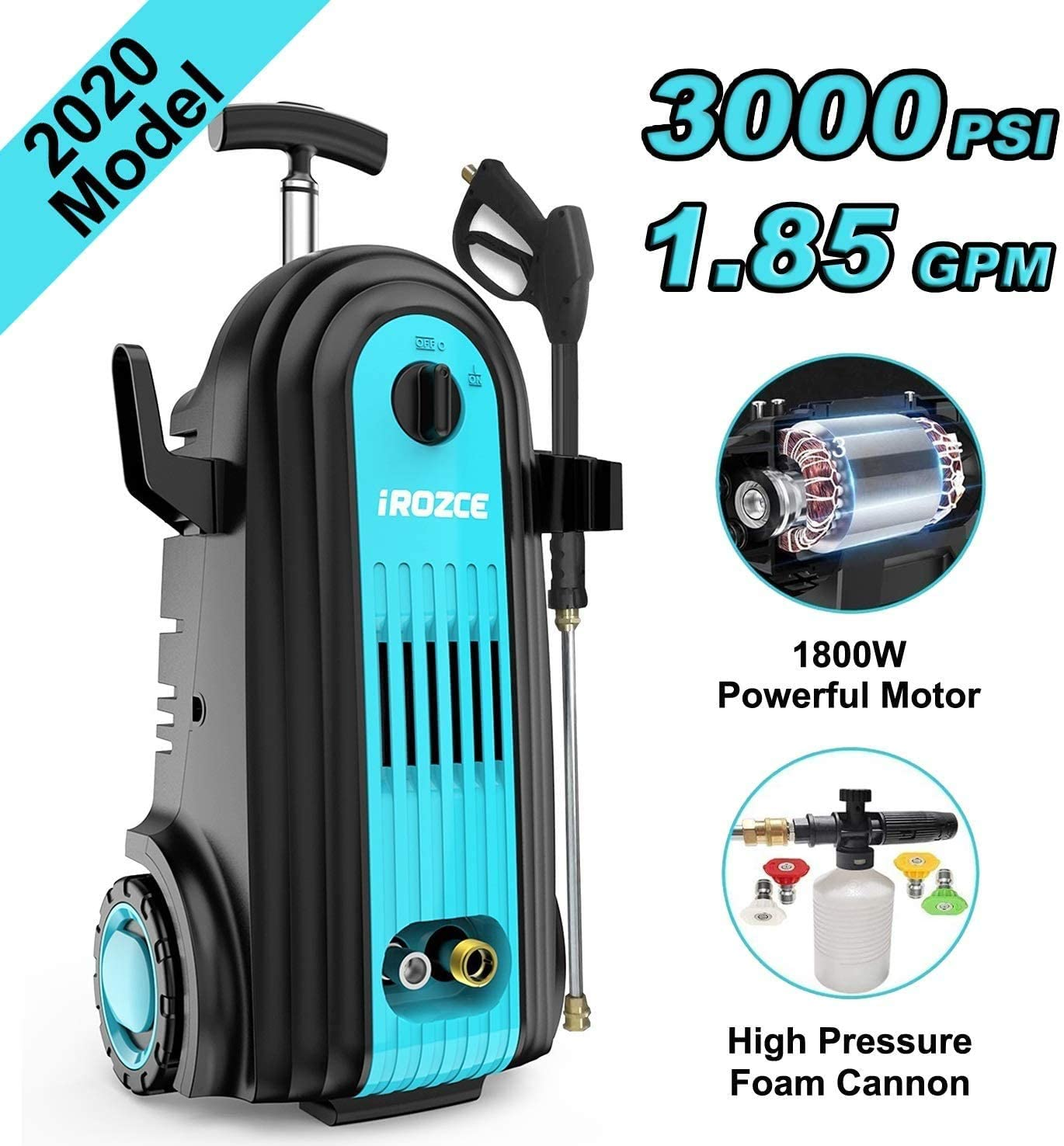 irozce Pressure Washer, 2610PSI 1.85GPM Electric Power Washer with Foam Cannon, Metal Adapter, Quick Connector Nozzles for Driveway, Deck, Patio Furniture, Car Washing, Blue