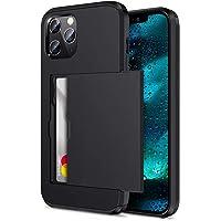 """ZUSLAB Slide Armor Card Holder Case for iPhone 12 Pro 6.1"""" & iPhone 12 6.1"""" Protective Shockproof Hard Back Cover…"""