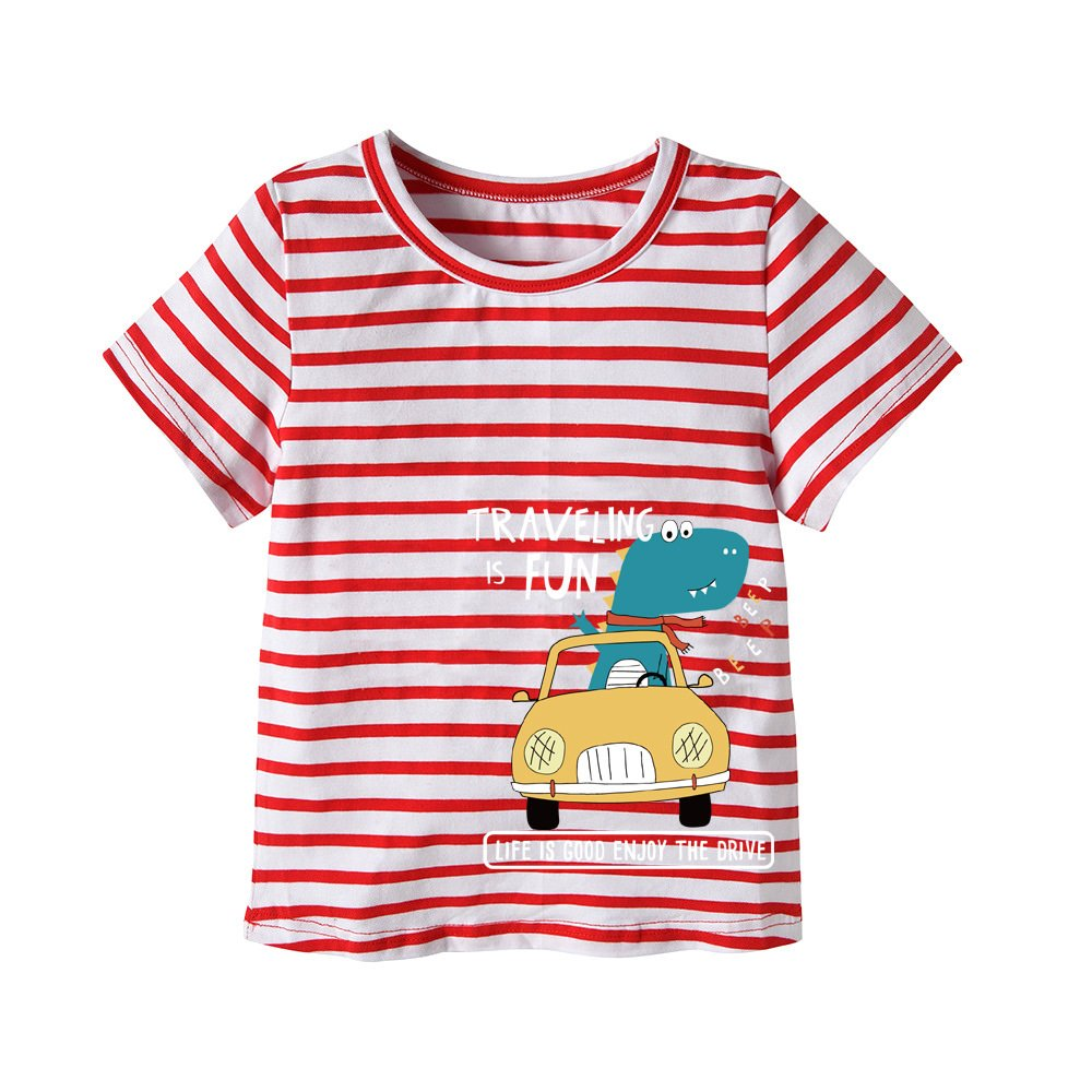 Genuo Little Boys Summer Cotton Strip T Shirt Boy Fashion Tee Top Dinosaur Travel Pattern 100