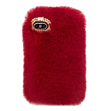 coque iphone 8 plus fourrure rouge