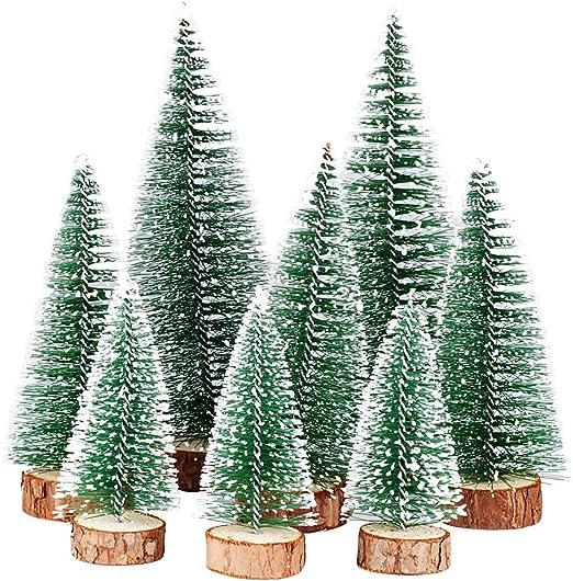 Arbolito de Navidad 10cm Nieve Artificial con base de madera